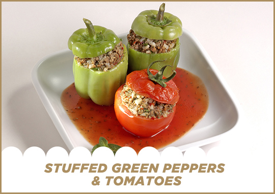 Stuffed Green Peppers & Tomatoes